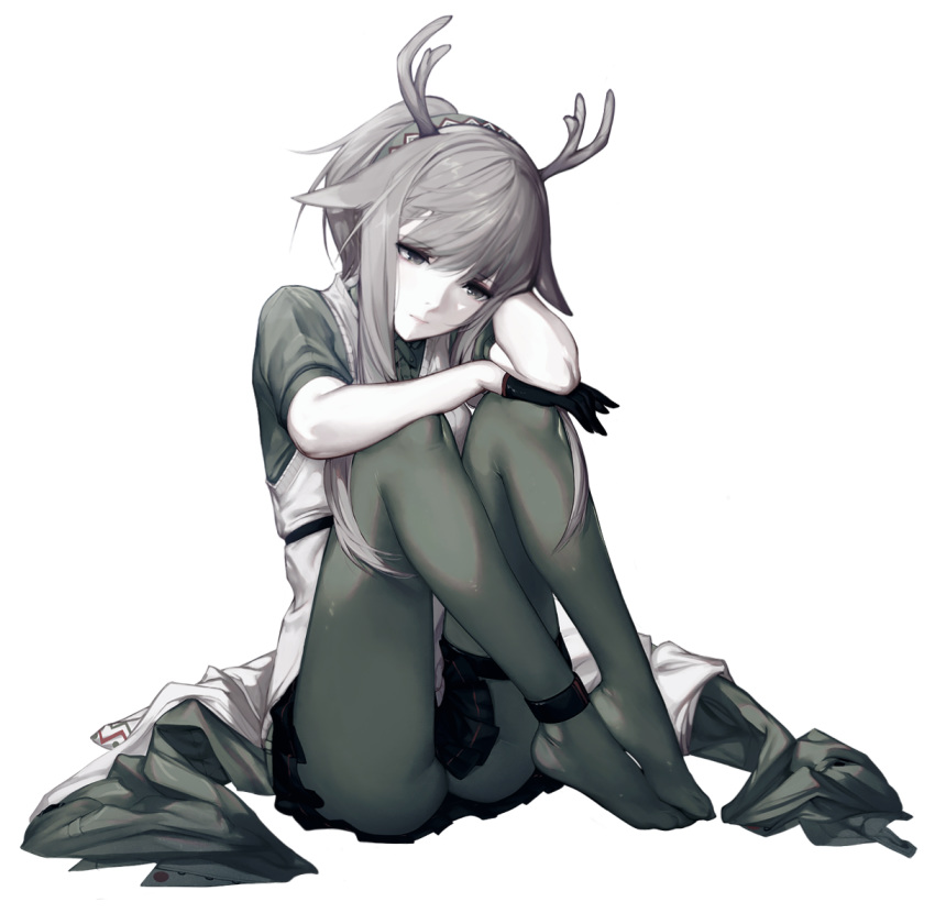 1girl ankle_strap antlers arknights bangs black_gloves black_skirt commentary firewatch_(arknights) gloves grey_eyes grey_hair grey_legwear grey_shirt hair_flaps head_tilt knees_up long_hair microskirt mmmegh no_shoes pantyhose shirt short_sleeves sidelocks sitting skirt solo thigh_strap thighs transparent_background vest white_vest