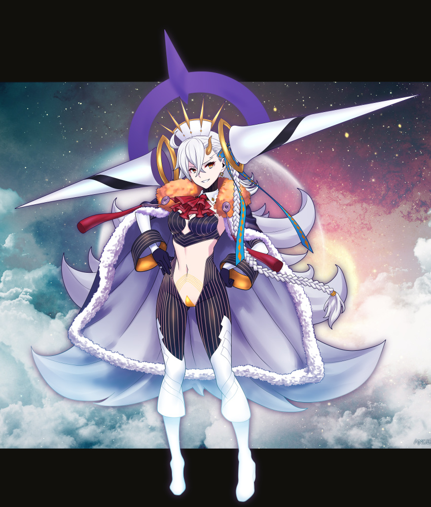 1girl breasts cape cheekbones cloak date_naoto fate/grand_order fate_(series) floating floating_object fur-trimmed_cloak fur_trim gloves grey_cape highres holding_cage hood hooded_cape horn long_braid long_hair medium_breasts navel smile solo spoilers thigh-highs u-olga_marie