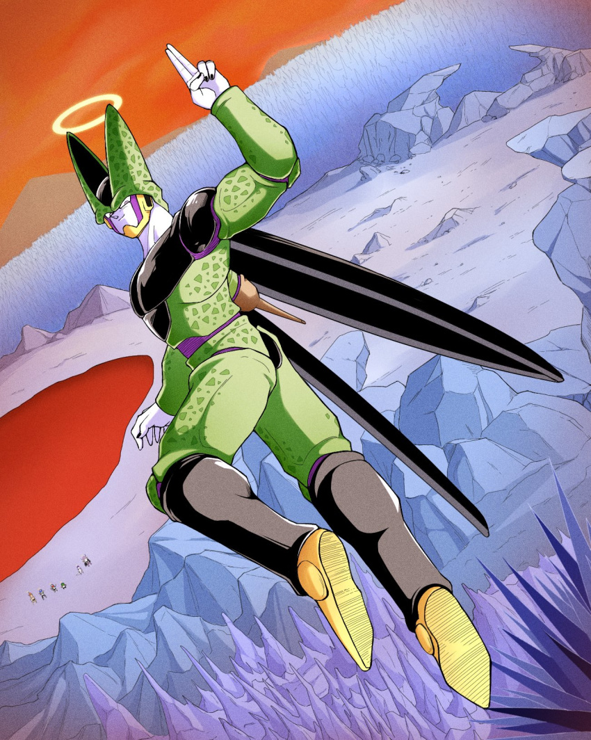 6+boys armor blood bug burter captain_ginyu cell_(dragon_ball) closed_mouth dragon_ball dragon_ball_z frieza full_body ginyu_force gloves grin guldo halo hat hell highres insect insect_wings jeice king_cold looking_at_viewer looking_back male_focus multiple_boys muscle parody perfect_cell recoome red_eyes salute sentai smile solo stinger tail takumi1230g two-finger_salute wasteland wings