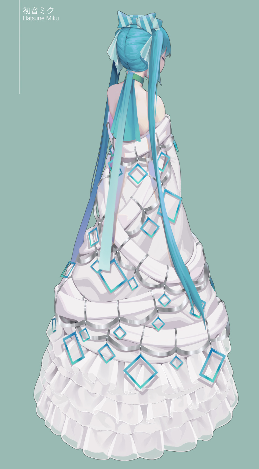 1girl absurdres aqua_bow aqua_hair aqua_ribbon aqua_theme bangs bare_shoulders blue_dress bow character_name chinese_commentary choker christmas closed_eyes commentary_request dress frilled_dress frills from_behind full_body green_background hair_bow hair_ribbon hatsune_miku highres long_hair off-shoulder_dress off_shoulder pekakiu ribbon see-through simple_background solo square standing striped striped_bow twintails very_long_hair vocaloid