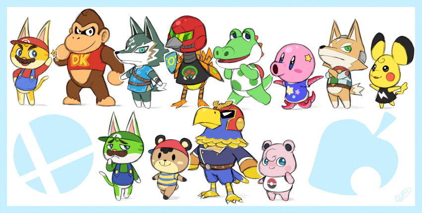 6+others absurdres alligator animal animal_crossing animalization ape ape_(company) bear bear_cub bird canine captain_falcon cat creatures_(company) crocodilian donkey_kong donkey_kong_(series) donkey_kong_country doubutsu_no_mori eagle earthbound earthbound_(series) f-zero feline female fox fox_mccloud game_freak gen_1_pokemon gorilla hal_laboratory_inc. hamster highres hoshi_no_kirby jigglypuff kirby kirby_(series) link link_(wolf) luigi male mammal mario mario_(series) metroid mother_(game) mother_2 mouse ness nintendo nintendo_ead no_humans octopus olm_digital ostrich parody pikachu pokemon rareware reptile retro_studios rodent samus_aran sea_creature star_fox super_mario_3d_world super_mario_bros. super_smash_bros. super_smash_bros._ultimate super_smash_bros_64 the_legend_of_zelda the_legend_of_zelda:_breath_of_the_wild the_legend_of_zelda:_twilight_princess wolf yoshi yoshi's_island