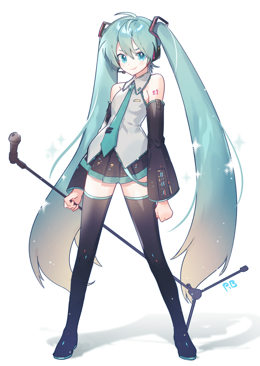 absurdres aqua_eyes aqua_hair aqua_neckwear bare_shoulders black_legwear black_skirt black_sleeves boots clenched_hands commentary_request derivative_work detached_sleeves full_body grey_shirt hair_ornament hatsune_miku headphones headset highres holding_microphone_stand long_hair looking_at_viewer microphone microphone_stand miniskirt necktie pleated_skirt ranobigi0820 shadow shirt shoulder_tattoo skirt sleeveless sleeveless_shirt smile sparkle standing tattoo thigh-highs thigh_boots twintails v-shaped_eyebrows very_long_hair vocaloid vocaloid_boxart_pose white_background zettai_ryouiki