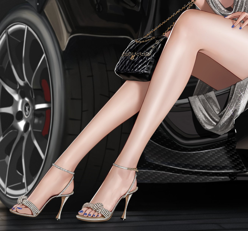 1girl azur_lane bag blue_nails car feet ground_vehicle hand_on_thigh handbag high_heels highres legs lower_body motor_vehicle nail_polish out_of_frame sandals silver_dress sitting solo sparkle st._louis_(azur_lane) st._louis_(luxurious_wheels)_(azur_lane) toes vehicle yunsang