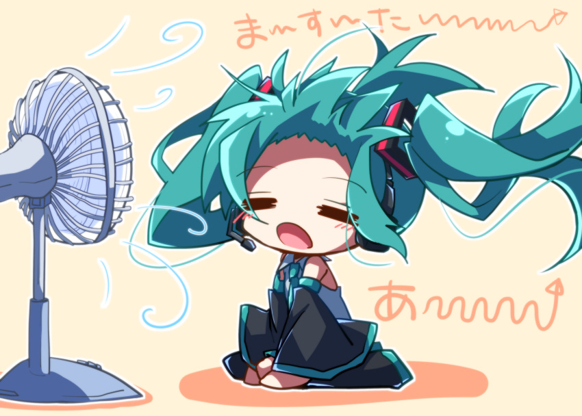 aosaki_yato aqua_hair aqua_neckwear bare_shoulders black_legwear black_sleeves chibi closed_eyes commentary detached_sleeves electric_fan fan_speaking forehead grey_shirt hair_blowing hair_ornament hatsune_miku headphones headset highres long_hair necktie open_mouth orange_background seiza shirt sitting sleeveless sleeveless_shirt translated twintails very_long_hair vocaloid