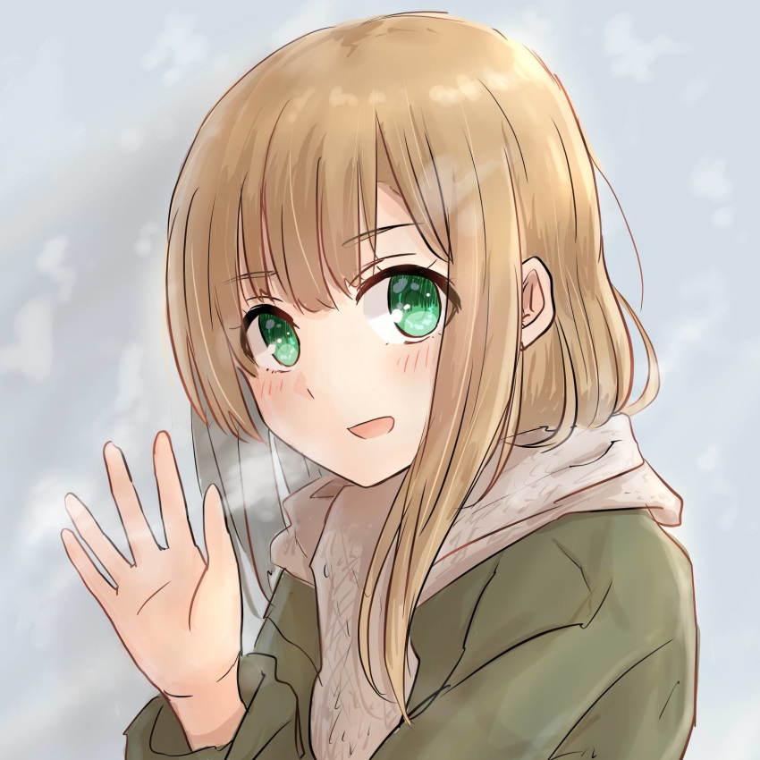 1girl bangs betock blonde_hair blush breath enpera green_eyes hand_up highres long_hair original scarf smile solo upper_body winter_clothes
