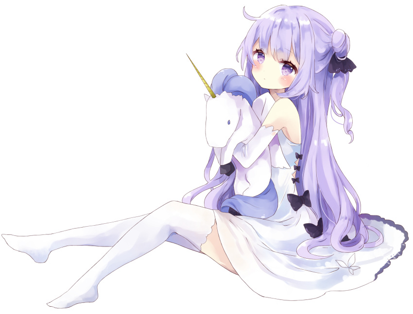 1girl absurdres azur_lane bangs bare_shoulders black_bow black_ribbon blush bow closed_mouth commentary_request dress elbow_gloves eyebrows_visible_through_hair full_body gloves hair_bun hair_ribbon highres looking_at_viewer no_shoes object_hug one_side_up purple_hair ribbon side_bun simple_background sitting sleeveless sleeveless_dress solo stuffed_alicorn stuffed_animal stuffed_toy tsukiyo_(skymint) unicorn_(azur_lane) violet_eyes white_background white_dress white_gloves white_legwear