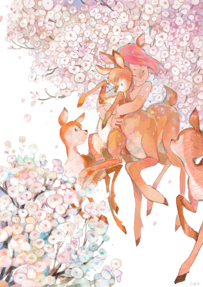 1girl absurdres artist_name centauroid cherry_blossoms closed_eyes day deer deer_girl fawn flower highres hug hug_from_behind looking_at_another outdoors redhead short_hair spring_(season) white_background zlj