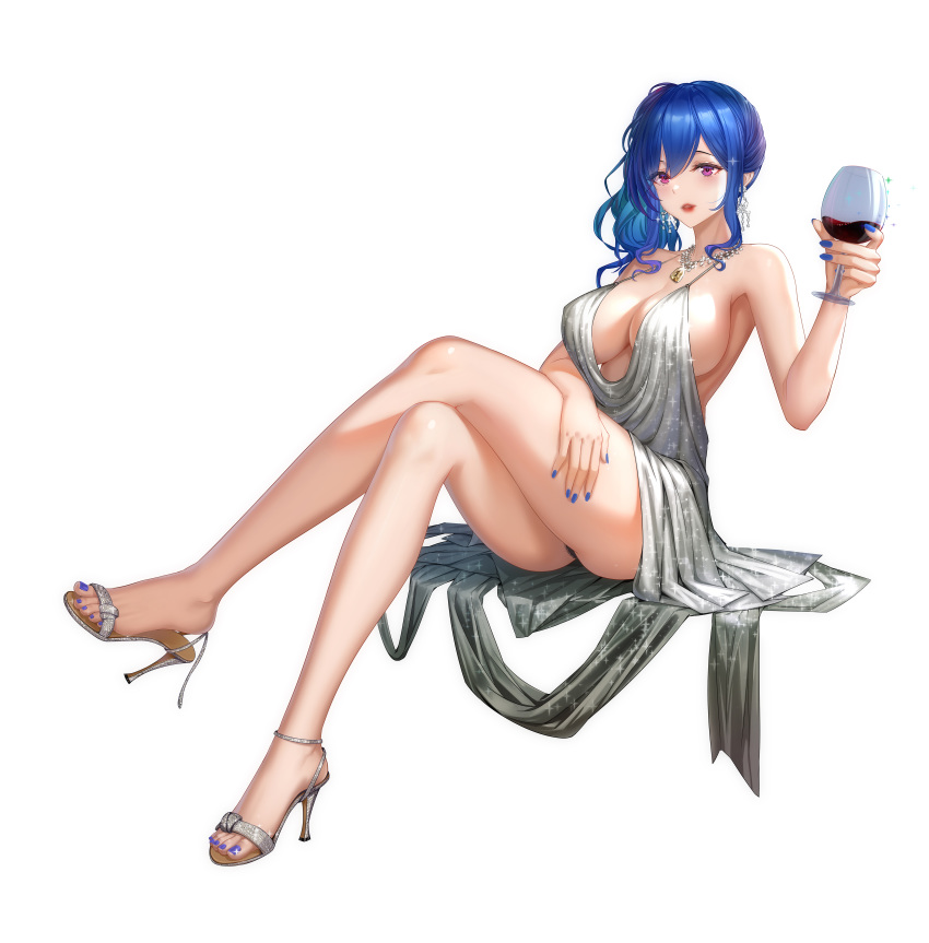 1girl absurdres alcohol azur_lane backless_dress backless_outfit bangs bare_shoulders blue_hair blue_nails commentary_request cup dress earrings evening_gown full_body grey_dress hair_between_eyes halter_dress hand_on_own_thigh high_heels highres holding holding_cup hong_bai jewelry nail_polish necklace parted_lips pink_eyes plunging_neckline revealing_clothes side_ponytail sidelocks silver_dress silver_footwear sitting st._louis_(azur_lane) st._louis_(luxurious_wheels)_(azur_lane) thighs
