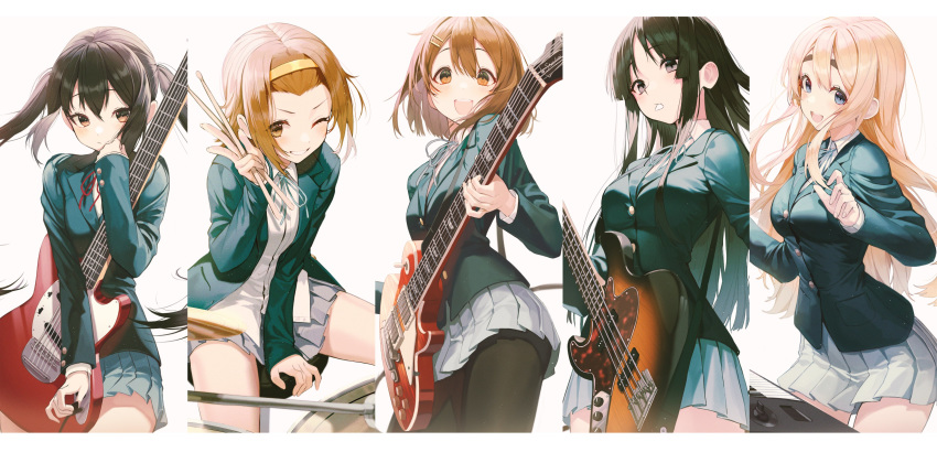 5girls :d absurdres akiyama_mio bangs_pinned_back bass_guitar between_legs black_eyes black_hair black_jacket black_legwear blazer blonde_hair blue_eyes blue_jacket blush breasts brown_eyes brown_hair buttons cable collared_shirt drum drum_set drumsticks electric_guitar fender fender_mustang floating_hair forehead gibson grey_skirt grin guitar hair_between_eyes hair_ornament hairclip hand_up highres hirasawa_yui holding holding_drumsticks holding_instrument instrument jacket k-on! keyboard_(instrument) kotobuki_tsumugi les_paul long_hair long_sleeves looking_at_viewer medium_breasts miniskirt mouth_hold multiple_boys multiple_girls nakano_azusa one_eye_closed open_clothes open_jacket open_mouth pantyhose pleated_skirt plectrum plectrum_in_mouth pro-p sakuragaoka_high_school_uniform school_uniform shirt short_hair sidelocks simple_background sitting skirt small_breasts smile strap tainaka_ritsu thick_eyebrows thighs twintails undershirt white_background white_shirt wing_collar