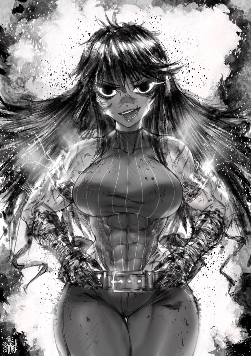 1girl abs armlet bandaged_arm bandages belt breasts curvy denim explosion facial_scar fire glowing glowing_eyes greyscale hand_wraps hands_on_hips hero_and_demon_king hero_ramia highleg highleg_leotard highres hip_focus jeans large_breasts leotard leotard_under_clothes long_hair looking_at_viewer monochrome muscle muscular_female nose_scar pants scar scar_on_cheek skin_tight sleeveless slender_waist smoke solo the_golden_smurf thick_thighs thighs veins wide_hips you_gonna_get_raped