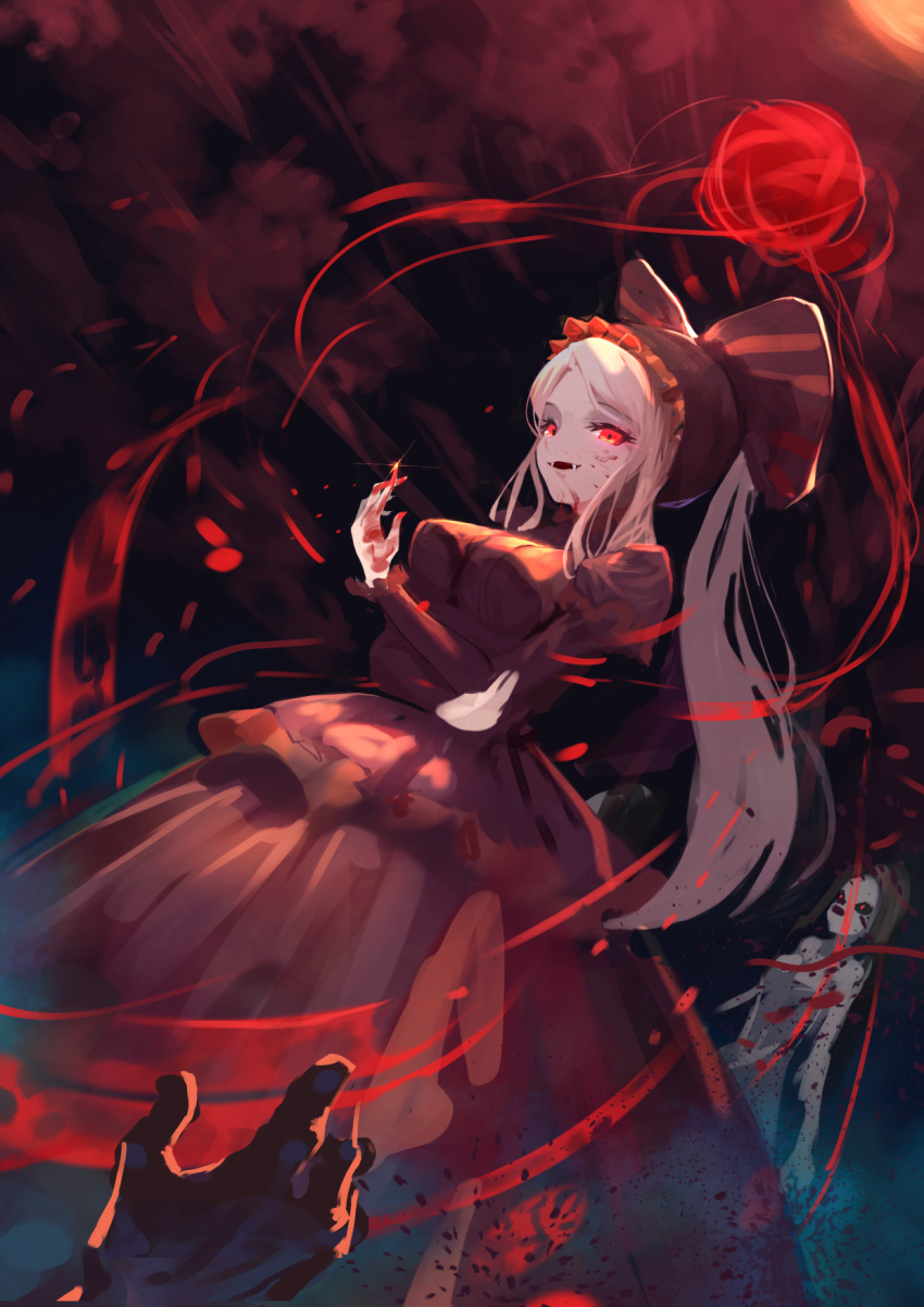 1other 2girls black_hair black_sclera blood blood_on_face bloody_clothes bloody_hands death dress fangs fingernails floating frills glint glowing glowing_eyes highres long_hair moco_(moco_28) multiple_girls overlord_(maruyama) red_dress red_nails shalltear_bloodfallen smile vampire white_hair