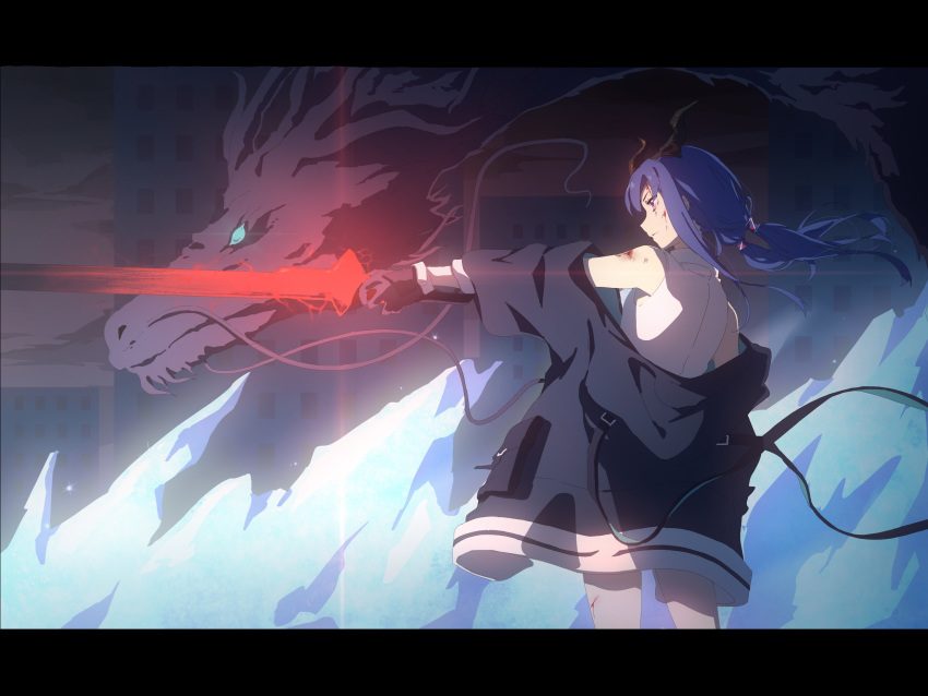 1girl anime_coloring arknights black_gloves black_jacket blood blood_on_face blue_hair ch'en_(arknights) city closed_mouth collared_shirt cuts dragon dragon_horns floating_hair from_side gloves glowing glowing_sword glowing_weapon highres holding holding_sword holding_weapon horns ice injury jacket kagura_tohru letterboxed long_hair off_shoulder outdoors profile red_eyes shirt sleeveless sleeveless_shirt solo standing sword twintails weapon white_shirt