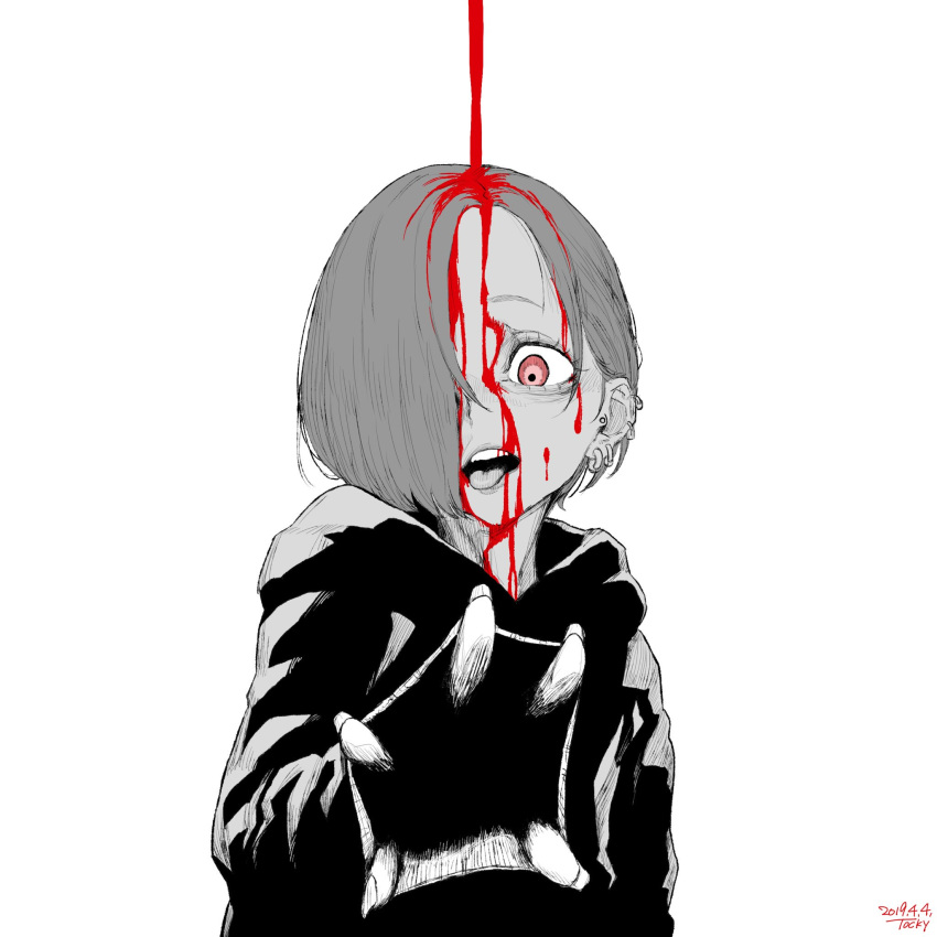 1girl blood blood_on_face dated ear_piercing greyscale hair_over_one_eye highres hood hood_down hoodie idolmaster idolmaster_cinderella_girls monochrome open_mouth piercing red_eyes shirasaka_koume short_hair signature simple_background solo spot_color tocky upper_body