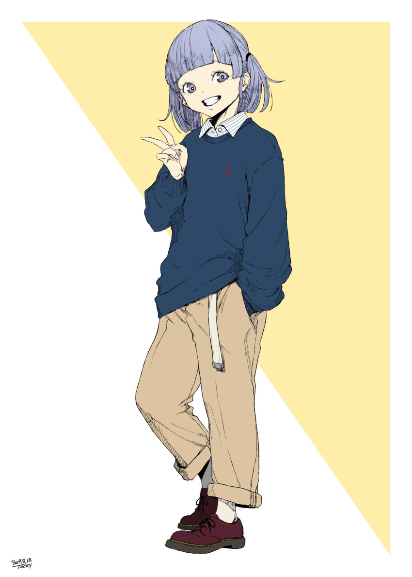 1girl alternate_costume bangs blue_sweater blunt_bangs brown_pants dated full_body grey_hair grin hand_in_pocket highres kantai_collection long_sleeves medium_hair ooshio_(kantai_collection) pants short_twintails signature simple_background smile solo standing sweater tocky twintails two-tone_background v