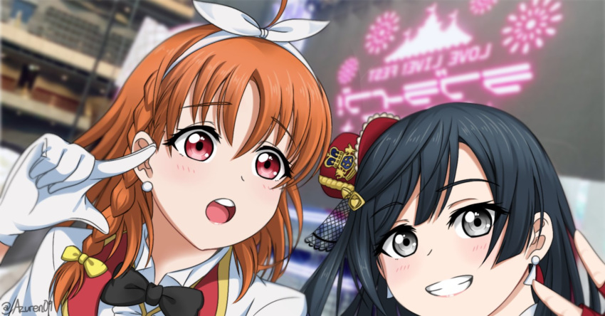 2girls costume earrings hat highres inami_anju jan_azure jewelry kusunoki_tomori love_live! love_live!_school_idol_festival_all_stars love_live!_sunshine!! multiple_girls open_mouth perfect_dream_project photo-referenced seiyuu_connection self_shot stage takami_chika twitter_username yuuki_setsuna_(love_live!)