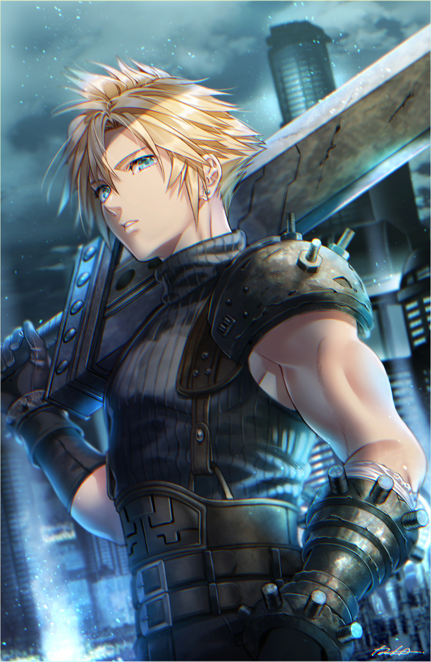 1boy absurdres bangs belt black_belt black_gloves black_shirt blonde_hair blue_eyes blurry blurry_background building buster_sword closed_mouth cloud_strife clouds cloudy_sky commentary depth_of_field earrings english_commentary final_fantasy final_fantasy_vii final_fantasy_vii_remake gauntlets gloves grey_sky highres holding holding_sword holding_weapon iria_(yumeirokingyo) jewelry light_particles male_focus overcast pauldrons shirt short_hair shoulder_armor sky sleeveless sleeveless_shirt solo spiky_hair sword weapon