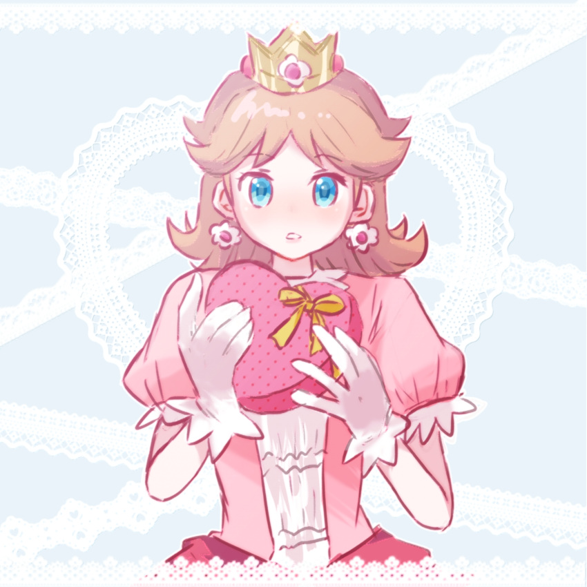 1girl alternate_color blue_eyes box brown_hair eyebrows_visible_through_hair flipped_hair gloves hands_up heart-shaped_box highres mario_(series) medium_hair misowhite no_nose parted_lips princess princess_daisy puffy_short_sleeves puffy_sleeves short_sleeves solo super_smash_bros. upper_body valentine white_gloves