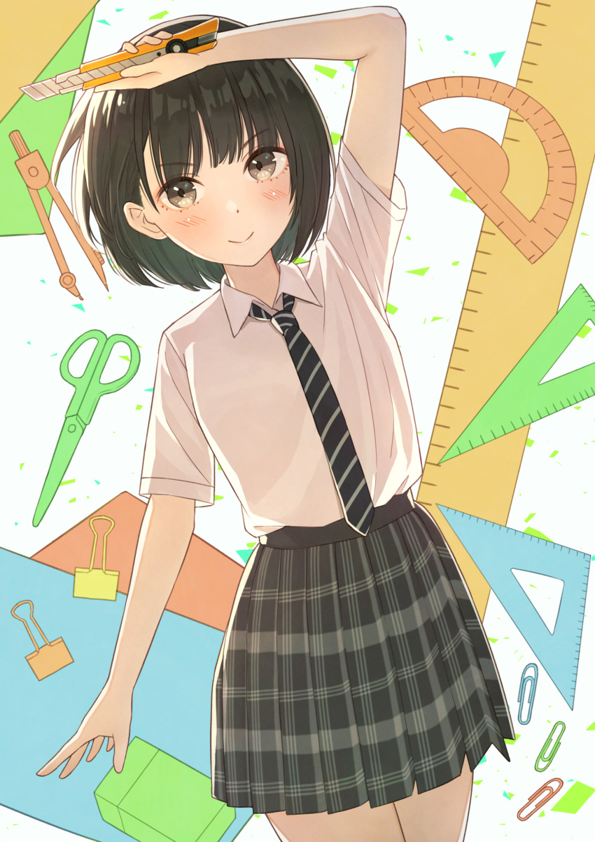 >:) 1girl arm_up bangs black_hair black_neckwear black_skirt blunt_bangs blush bob_cut boxcutter brown_eyes closed_mouth collared_shirt compass_(instrument) highres holding looking_at_viewer medium_skirt necktie original plaid plaid_skirt pleated_skirt ruler school_uniform scissors shirt short_hair short_sleeves skirt smile smug solo striped striped_neckwear tanbonota46 white_shirt