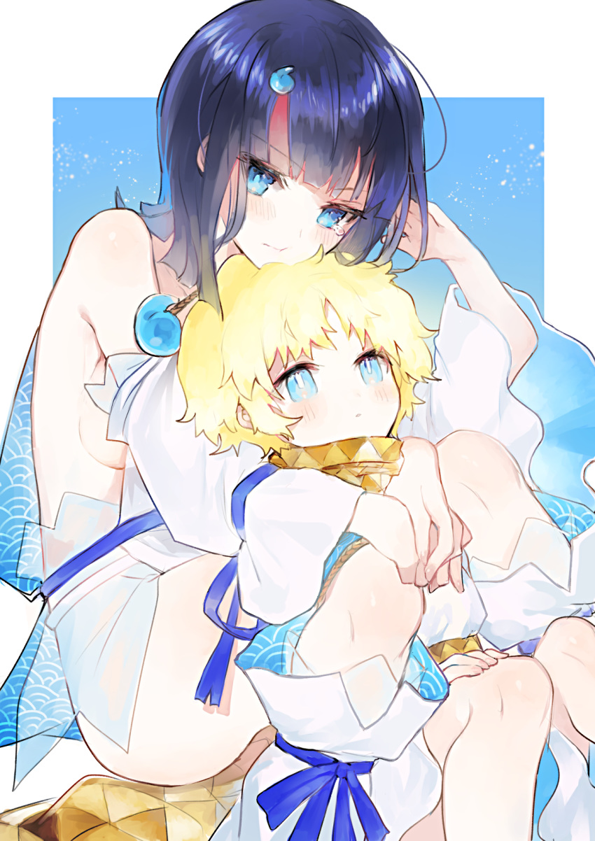 1boy 1girl baggy_clothes bangs bare_shoulders black_hair blonde_hair blue_background blue_eyes blue_ribbon blush border breasts closed_mouth detached_leggings dress fate/grand_order fate/requiem fate_(series) highres jewelry kirie_nozomi knees_up long_sleeves looking_at_viewer magatama magatama_hair_ornament medium_breasts medium_hair multicolored_hair necklace parted_bangs pink_hair puffy_long_sleeves puffy_sleeves ribbon scarf short_dress short_hair sideboob sideless_outfit sitting streaked_hair thighs utsumi_erise voyager_(fate/requiem) white_border white_dress white_legwear yellow_scarf
