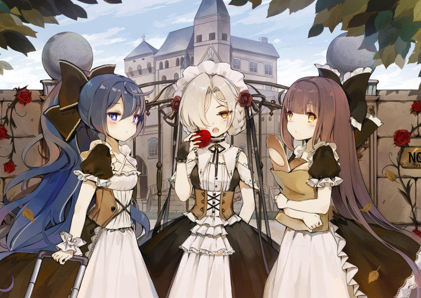 :o alternate_costume apple apron autumn_leaves azur_lane bag baguette bangs black_bow black_dress black_nails blush bow braid bread brick_wall bridal_gauntlets brown_eyes brown_hair building closed_mouth day dress enmaided eyebrows_visible_through_hair fangs flower food frilled_apron frilled_sleeves frills fruit gate grey_hair groceries grocery_bag hair_between_eyes hair_bow hair_flower hair_ornament hair_over_one_eye harutsuki_(azur_lane) highres holding holding_food holding_fruit leaves_in_wind long_hair maid maid_headdress maya_g multicolored_hair nail_polish object_hug open_mouth outdoors ponytail puffy_short_sleeves puffy_sleeves red_apple red_flower red_rose rolling_suitcase rose sheffield_(azur_lane) shopping_bag short_hair short_sleeves streaked_hair very_long_hair white_apron white_hair wrist_cuffs yoizuki_(azur_lane)