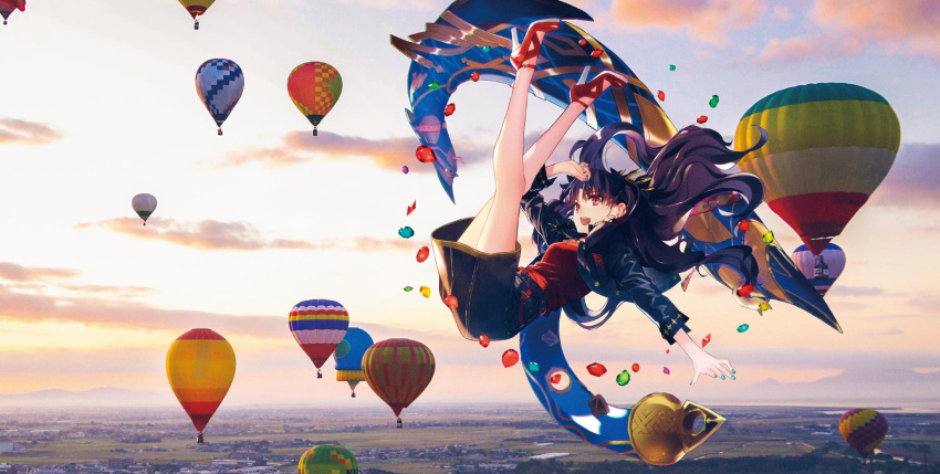 1girl aircraft alternate_costume amber_(gemstone) ankle_strap bangs black_hair bow_(weapon) breasts casual clouds cloudy_sky contemporary crown emerald_(gemstone) fate/grand_order fate_(series) floating floating_object full_body gem gradient_hair heavenly_boat_maanna high_heels highres hot_air_balloon ishtar_(fate)_(all) ishtar_(fate/grand_order) jewelry legs_up light long_hair looking_at_viewer multicolored_hair nail_polish official_art open_mouth outdoors parted_bangs red_eyes red_shirt ruby_(gemstone) shiny shiny_hair shirt shoes skirt sky solo weapon