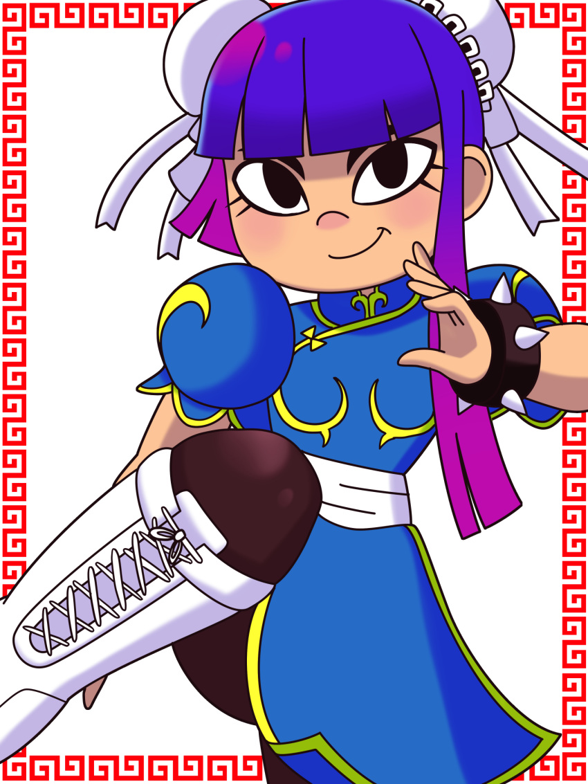 1girl alternate_costume black_eyes blue_dress boots bracelet breasts brown_legwear bun_cover china_dress chinese_clothes chun-li chun-li_(cosplay) commentary_request cosplay cross-laced_footwear dokuringo double_bun dress fighting_stance glitch_techs highres jewelry knee_boots long_hair looking_at_viewer miko_kubota pantyhose puffy_short_sleeves puffy_sleeves purple_hair sash short_sleeves simple_background small_breasts smile solo spiked_bracelet spikes standing street_fighter white_footwear