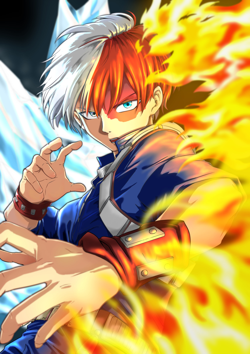 1boy absurdres blue_eyes boku_no_hero_academia burn_scar fighting_stance fire gpsmikasa_game highres ice looking_at_viewer male_focus multicolored_hair open_mouth redhead scar short_hair todoroki_shouto two-tone_hair uniform upper_body white_hair wristband