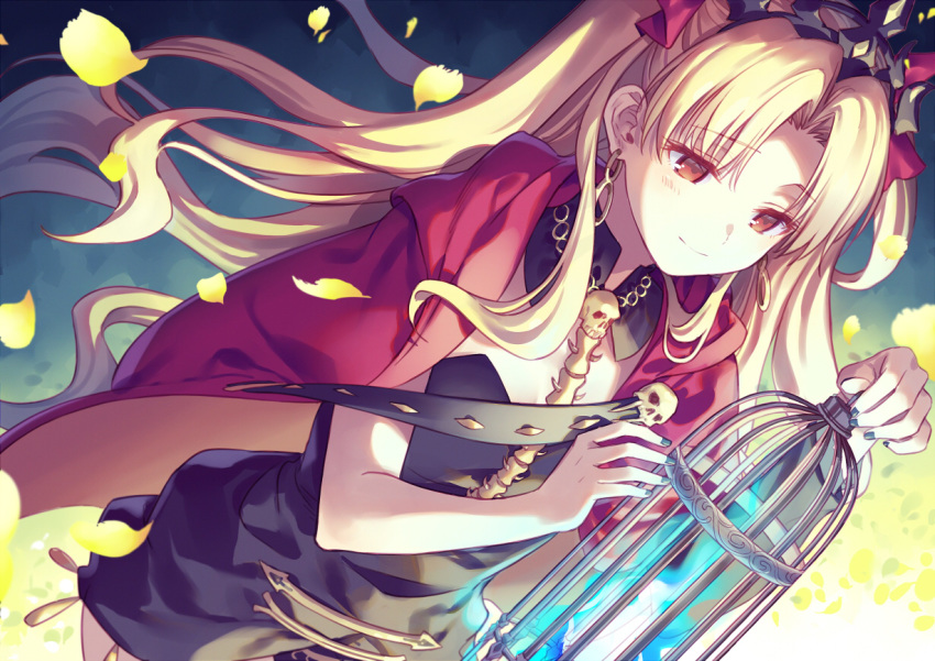 1girl asymmetrical_sleeves bangs between_breasts black_dress blonde_hair blush breasts cape detached_collar dress earrings ereshkigal_(fate/grand_order) fate/grand_order fate_(series) gold_trim hoop_earrings infinity jewelry long_hair medium_breasts multicolored multicolored_cape multicolored_clothes parted_bangs red_cape red_eyes single_sleeve skull smile spine takibixt tiara two_side_up yellow_cape