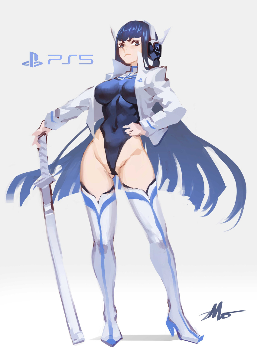 1girl absurdres alternate_costume bangs black_hair black_leotard blue_legwear boots breasts brown_eyes commentary_request covered_navel frown full_body game_console headphones highres holding katana kill_la_kill kiryuuin_satsuki large_breasts leotard long_hair looking_at_viewer personification playstation_5 signature simple_background solo sword thigh-highs thigh_boots weapon white_background white_legwear zhoumo_fangjia