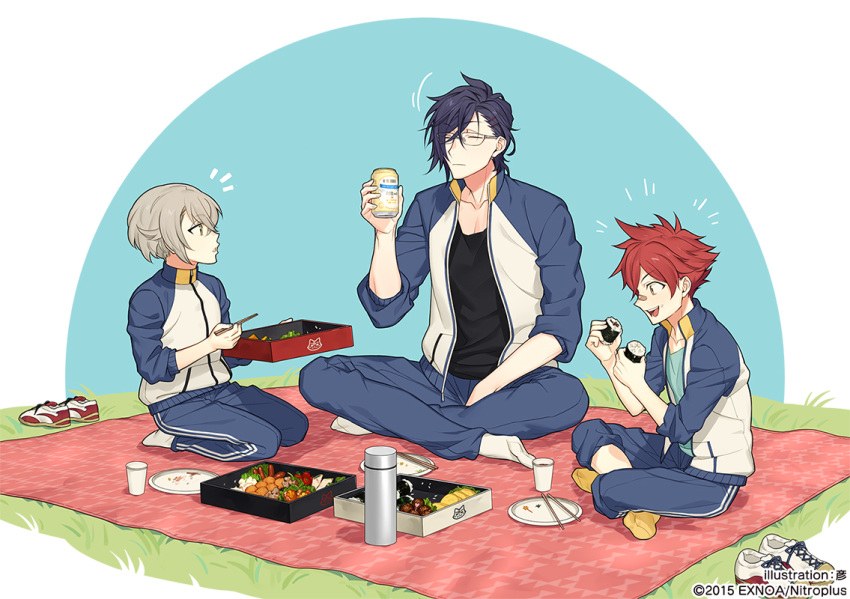 3boys aizen_kunitoshi akashi_kuniyuki bandaid bandaid_on_nose beer_can blanket can chopsticks closed_eyes food food_on_face glasses green_eyes hair_ornament hairclip hotarumaru indian_style male_focus multiple_boys obentou official_art open_mouth plate purple_hair redhead rice rice_on_face rururara seiza shoes_removed silver_hair sitting smile sushi touken_ranbu track_suit yellow_eyes