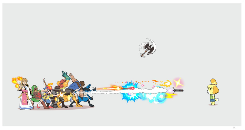 1other 3girls 4boys arm_cannon armor arrow_(projectile) aura_sphere axe black_hair blonde_hair blue_fur bow_(weapon) castlevania castlevania:_rondo_of_blood dog_girl dog_tail doubutsu_no_mori dress fire firing francisco_mon furry gen_4_pokemon grey_background highres image_sample long_hair lucario metal_gear_(series) metroid missile mother_(game) mother_2 multiple_boys multiple_girls muscle ness pointy_ears princess_zelda richter_belmont samus_aran serious shield shirt shizue_(doubutsu_no_mori) simple_background solid_snake striped striped_shirt super_smash_bros. tail the_legend_of_zelda the_legend_of_zelda:_a_link_between_worlds throwing twitter_sample weapon white_dress young_link