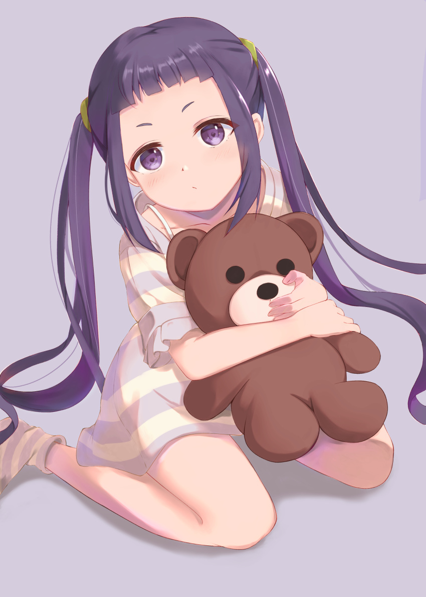 1girl absurdres bangs blunt_bangs commentary file112056 highres looking_at_viewer oogaki_chiaki purple_hair simple_background sitting solo stuffed_animal stuffed_toy teddy_bear twintails violet_eyes wariza younger yurucamp