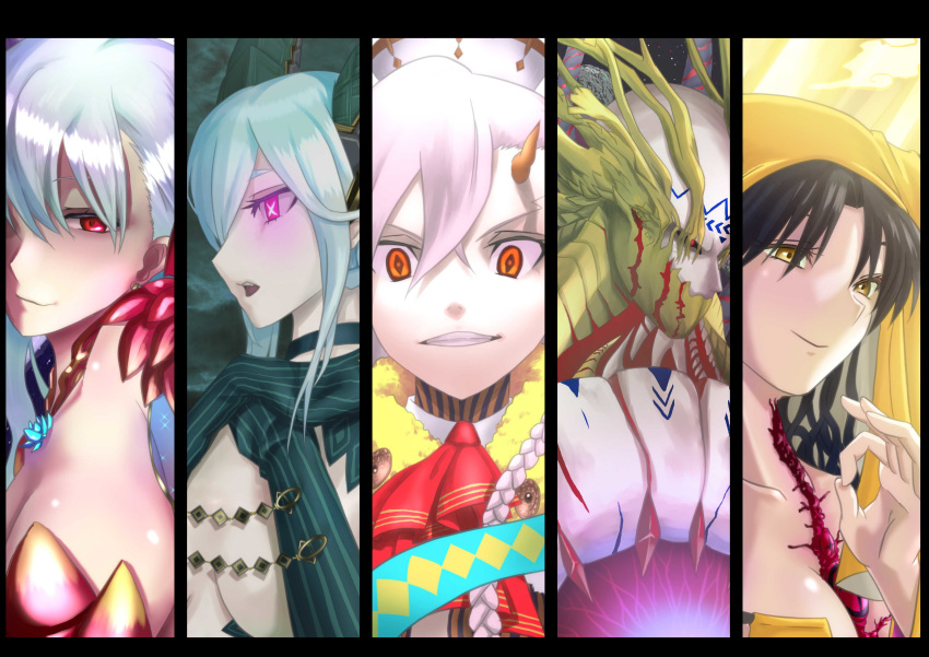 +_+ 1boy 4girls absurdres armlet armor bangs bare_shoulders bikini_armor black_hair braid breasts cape cheekbones chest_tattoo collar crossed_bangs curled_horns detached_sleeves disintegration dress earrings evil_grin evil_smile facial_mark fate/extra fate/extra_ccc fate/grand_order fate_(series) floating floating_object forehead_mark gloves glowing_tattoo goetia_(fate/grand_order) grin habit hair_ribbon hands_on_own_chest highres hood hooded hooded_cape horn_ornament horn_ring horned_hood horns jewelry kama_(fate/grand_order) large_breasts long_braid long_hair long_horns looking_at_viewer metal_collar multiple_girls nun orange_peel pointy_ears purple_sleeves red_eyes ribbon sesshouin_kiara side_braid silver_hair single_horn smile striped striped_gloves symbol-shaped_pupils tattoo tiamat_(fate/grand_order) u-olga_marie veil vertical-striped_gloves very_long_hair vxyzb0gvtiouiqp wavy_hair white_hair yellow_eyes
