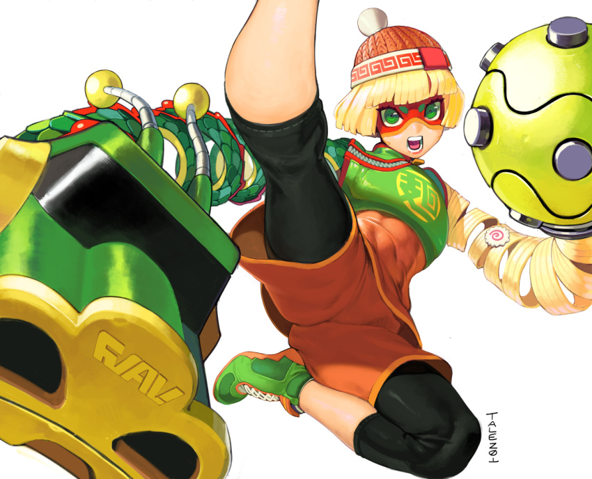 1girl abs al_bhed_eyes arms_(game) artist_name bangs beanie blonde_hair blunt_bangs bob_cut chinese_clothes commission domino_mask dragon_(arms) eyebrows_visible_through_mask flat_chest flying flying_kick green_eyes green_footwear hat high_kick kicking knit_hat legwear_under_shorts mandarin_collar mask megawatt_(arms) midair min_min_(arms) multicolored multicolored_clothes multicolored_headwear open_mouth orange_shorts pantyhose print_headwear punching_at_viewer ringed_eyes scale_armor shiny shiny_clothes shiny_hair shoelaces shoes short_hair shorts shorts_under_shorts signature simple_background sneakers solo talez01 thighs toned upshorts v-shaped_eyebrows white_background