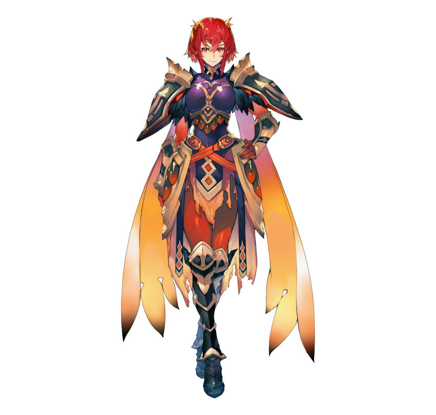1girl absurdres alternate_costume armor armored_boots artist_request bangs belt bodysuit bodysuit_under_clothes boots breastplate closed_mouth commentary_request feather_trim fire_emblem fire_emblem:_mystery_of_the_emblem fire_emblem_heroes gauntlets hair_ornament hand_on_hip highres looking_at_viewer minerva_(fire_emblem) official_art pelvic_curtain red_bodysuit red_eyes redhead shiny shiny_clothes shiny_hair short_hair shoulder_armor simple_background smile solo standing white_background