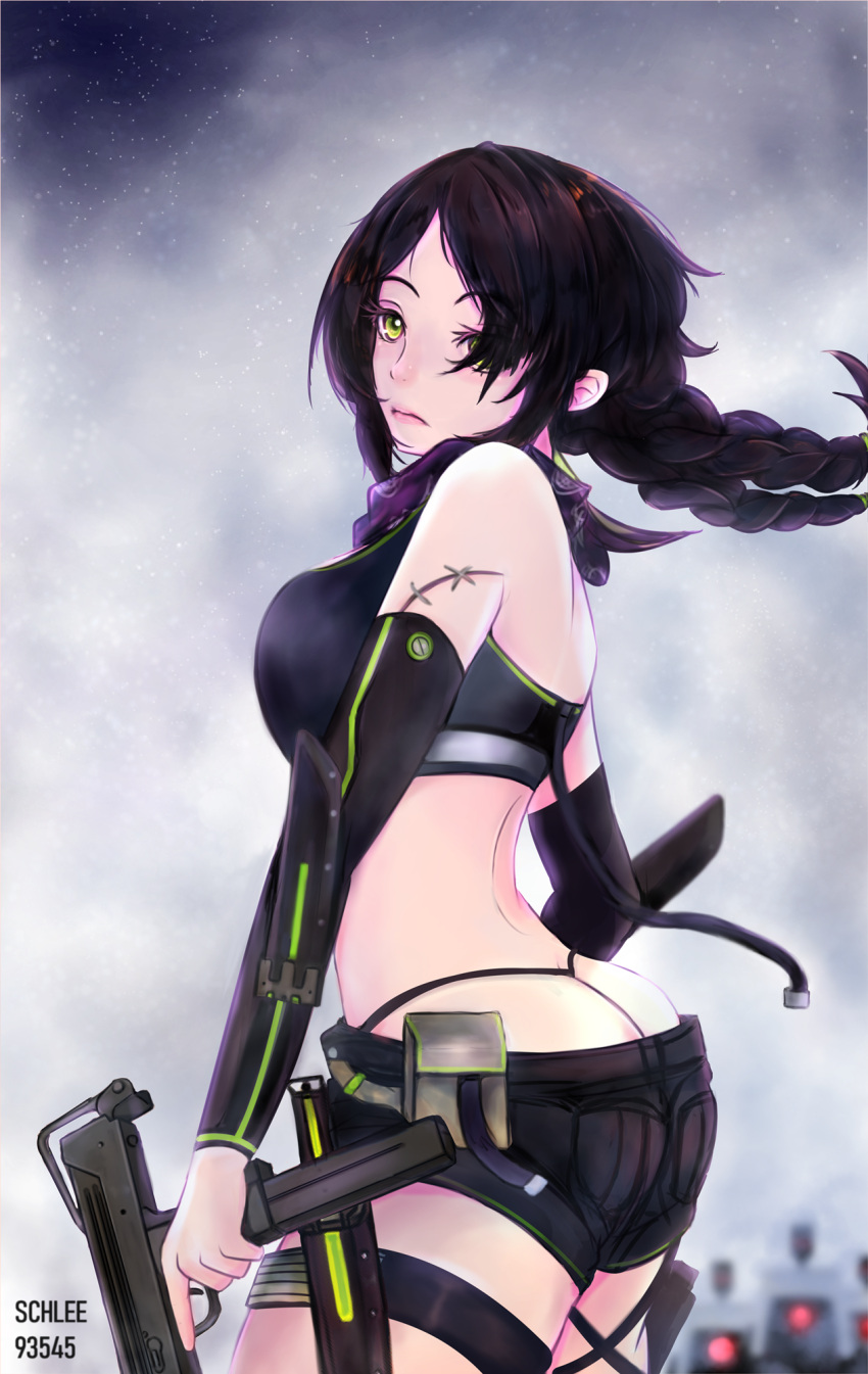 1girl arm_sheath artist_name back bandana belt belt_pouch bikini bikini_top black_bikini black_hair black_shorts blurry braid breasts crop_top depth_of_field detached_sleeves dinergate_(girls_frontline) fog girls_frontline green_eyes green_trim gun hair_over_one_eye highres holding holding_gun holding_weapon knife knife_holster lips long_hair looking_at_viewer looking_back low_twintails mac-10 mac-10_(girls_frontline) medium_breasts midriff pouch scar schleezed short_shorts shorts solo stitches submachine_gun swimsuit thigh_sheath thigh_strap thong_bikini tied_hair trigger_discipline twin_braids twintails weapon