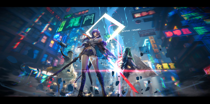 3girls absurdres animal_ears arknights arm_ribbon arm_scarf black_headwear black_jacket black_shirt black_shorts blonde_hair blue_hair building ch'en_(arknights) cityscape clothes_around_waist dragon_horns drill_hair dual_wielding from_below green_hair highres holding holding_shield holding_sword holding_weapon horns hoshiguma_(arknights) jacket jacket_around_waist long_hair multicolored_neckwear multiple_girls navel neckwear oni_horns outdoors ribbon sa'yuki shield shirt shirt_around_waist short_shorts shorts side_drill single_horn skyscraper swire_(arknights) sword tail thighs tiger_ears tiger_girl tiger_tail very_long_hair weapon