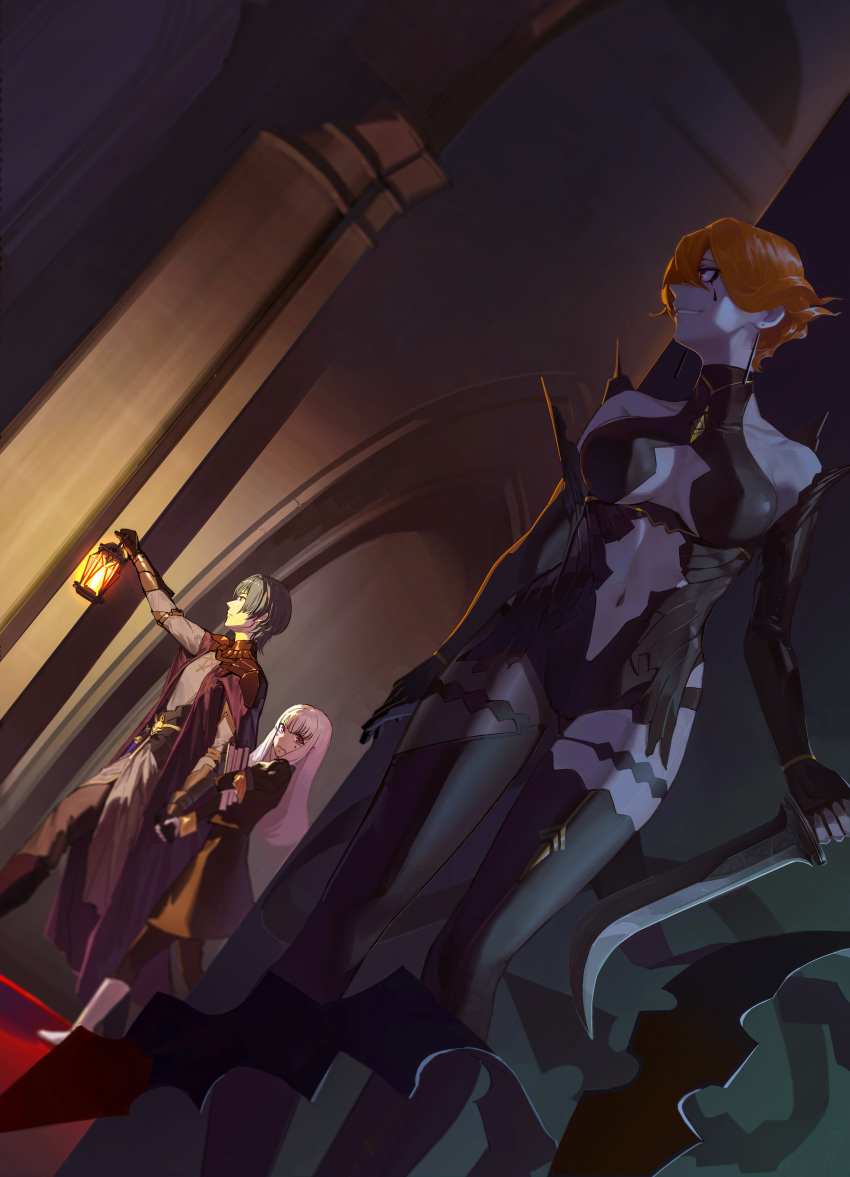 1boy 2girls absurdres armor black_gloves blue_hair book breasts byleth_(fire_emblem) byleth_(fire_emblem)_(male) center_opening closed_mouth facial_mark fire_emblem fire_emblem:_three_houses garreg_mach_monastery_uniform gen_(bividgen) gloves highres holding holding_book holding_hands holding_lantern holding_sword holding_weapon kronya_(fire_emblem) lantern long_hair long_sleeves looking_to_the_side lysithea_von_ordelia multiple_girls navel navel_cutout orange_hair pink_eyes red_eyes short_hair sword uniform wavy_mouth weapon white_hair