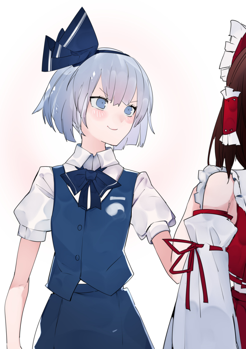 >:) 2girls alternate_color bangs black_bow black_hairband black_neckwear black_ribbon blue_eyes blue_skirt blue_vest blush bob_cut bow bowtie brown_hair closed_mouth collared_shirt commentary_request cowboy_shot detached_sleeves doyagao frilled_shirt_collar frills hair_bow hair_ribbon hair_tubes hairband hakurei_reimu hand_on_another's_back hand_on_another's_shoulder highres hitodama_print ikurauni konpaku_youmu looking_at_another multiple_girls out_of_frame pink_background puffy_short_sleeves puffy_sleeves red_bow red_shirt red_skirt ribbon ribbon-trimmed_sleeves ribbon_trim shirt short_hair short_sleeves silver_hair skirt skirt_set smile touhou vest white_background white_shirt wing_collar