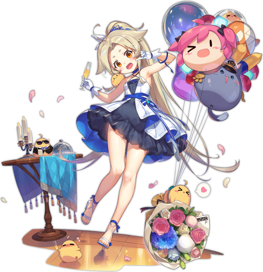 >_< 1girl ahoge alternate_costume artist_request azur_lane balloon bangs bare_shoulders blonde_hair blue_dress blue_ribbon blush bouquet breasts brown_eyes candle cavalla_(azur_lane) cavalla_(colorful_ceremony)_(azur_lane) chandelier criss-cross_halter dress drunk eagle_union_(emblem) expressions fang fire flower frilled_dress frills gloves hair_ornament halterneck heart high_heels highres layered_dress long_hair looking_at_viewer manjuu_(azur_lane) meowfficer_(azur_lane) official_art open_mouth ponytail ribbon round_table short_eyebrows sleeveless sleeveless_dress small_breasts smile spoken_heart standing sunglasses table transparent_background very_long_hair white_dress white_gloves