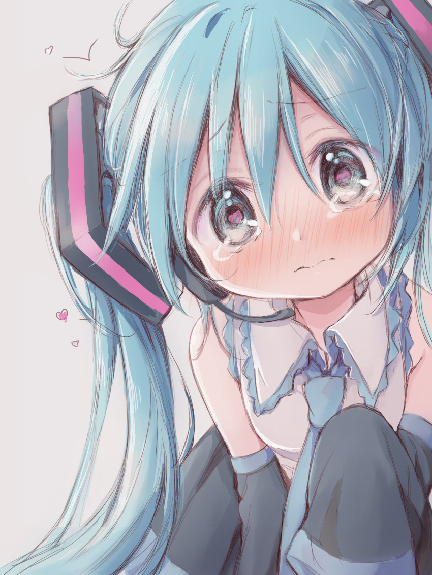 1girl absurdres aqua_eyes aqua_hair aqua_neckwear bare_shoulders black_skirt black_sleeves blush commentary crying crying_with_eyes_open detached_sleeves furrowed_eyebrows hair_ornament hatsune_miku headphones headset heart heart_in_eye highres hitode leaning_forward long_hair looking_at_viewer miniskirt necktie pleated_skirt shirt skirt sleeveless sleeveless_shirt sleeves_past_wrists solo symbol_in_eye tears twintails upper_body very_long_hair vocaloid white_shirt