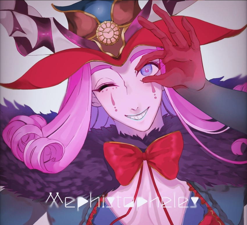 1boy bishounen blue_eyes blue_lipstick blush bow bowtie cape center_opening character_name clown commentary_request curly_hair eyelashes fate/grand_order fate_(series) fur-trimmed_cape fur_collar fur_trim grin hat headpiece highres horns lipstick makeup male_focus medium_hair mephistopheles_(fate/grand_order) multicolored multicolored_eyes ok_sign one_eye_closed pectorals pikopikopi_01 purple_cape purple_hair smile teardrop teeth thick_eyebrows unzipped violet_eyes white_background white_skin