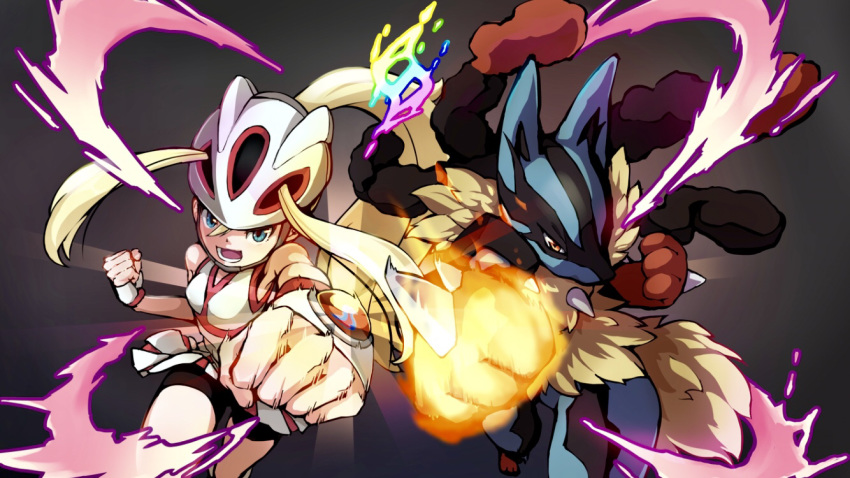 1girl 1other bangs bare_shoulders bicycle_helmet bike_shorts black_background blonde_hair blue_eyes breasts clenched_hands commentary_request cowboy_shot fingerless_gloves gen_4_pokemon gloves glowing gym_leader hair_between_eyes helmet koruni_(pokemon) long_hair looking_at_viewer lower_teeth lucario medium_breasts mega_lucario mega_pokemon mega_stone miu_(angelo_whitechoc) open_mouth pokemon pokemon_(creature) pokemon_(game) pokemon_xy ponytail punching shirt shorts shorts_under_skirt side-by-side simple_background skirt sleeveless sleeveless_shirt two_side_up very_long_hair white_gloves white_shirt white_skirt