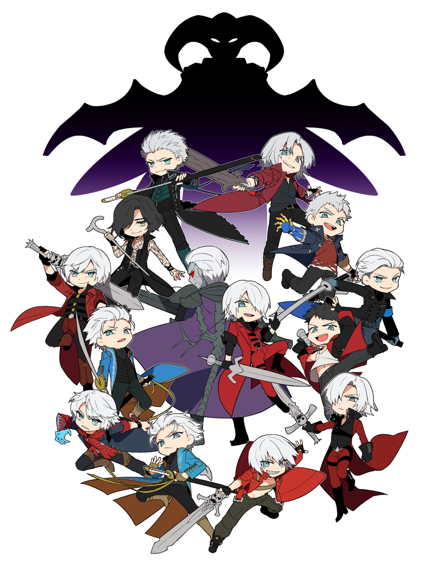 :d absurdres armband armor black_gloves black_hair blue_eyes blue_gloves boots bracelet brothers brown_gloves cane cape closed_mouth coat colored_sclera colored_skin dante_(devil_may_cry) devil_breaker devil_bringer devil_may_cry_(series) devil_may_cry_1 devil_may_cry_2 devil_may_cry_3 devil_may_cry_4 devil_may_cry_5 dmc:_devil_may_cry eyebrows_visible_through_hair facial_hair fang fingerless_gloves gloves green_eyes grey_skin hair_over_one_eye hair_slicked_back highres holding holding_sword holding_weapon jewelry katana kuronohana leg_up male_focus multiple_boys nelo_angelo nero_(devil_may_cry) open_mouth partially_fingerless_gloves rebellion_(sword) red_coat red_queen_(sword) red_sclera serious sheath short_hair siblings silver_hair single_glove sleeves_rolled_up smile spoilers stubble sword tattoo torn_clothes unsheathing v_(devil_may_cry) vergil_(devil_may_cry) weapon white_background yamato_(sword)