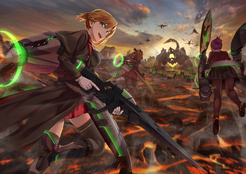 3girls ash_arms bangs black_capelet black_footwear black_legwear blonde_hair blue_eyes braid capelet clouds cloudy_sky collar commentary dragon flying from_behind greaves gun holding holding_gun holding_weapon hurricane_(ash_arms) lancaster_(ash_arms) long_coat looking_at_viewer looking_back miniskirt molten_rock motion_blur multiple_girls open_mouth outdoors pleated_skirt red_collar red_skirt redhead scorpion shigatsu_itsuka single_horizontal_stripe skirt sky smile spitfire_(ash_arms) sunset thigh-highs tied_hair twintails weapon