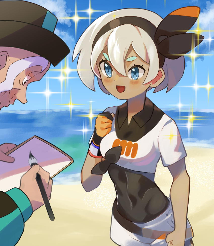 1boy 1girl :d bangs black_hairband blue_eyes blush bodysuit bodysuit_under_clothes bow clenched_hands clouds collared_shirt commentary_request day dynamax_band eyelashes gloves grey_hair gym_leader hair_between_eyes hairband hat highres holding katwo_1 looking_at_another mustard_(pokemon) old_man open_mouth outdoors paintbrush partly_fingerless_gloves pokemon pokemon_(game) pokemon_swsh print_shirt print_shorts saitou_(pokemon) sand shirt shore short_hair short_sleeves shorts single_glove sky smile sparkle standing tied_shirt water wristband