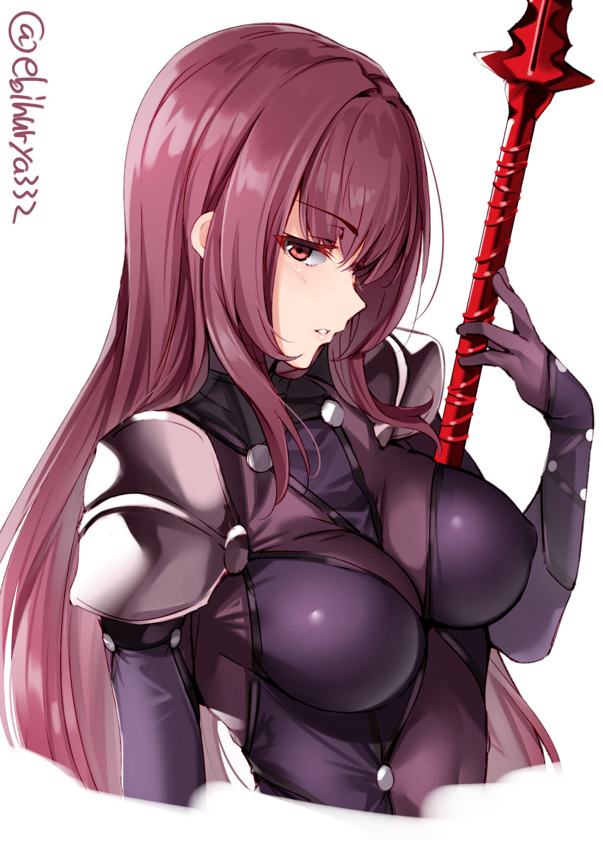 1girl absurdres bodysuit breasts ebifurya enty_reward fate/grand_order fate_(series) gae_bolg hair_intakes highres holding holding_weapon large_breasts leotard long_hair paid_reward pauldrons polearm purple_bodysuit purple_hair purple_leotard red_eyes scathach_(fate)_(all) scathach_(fate/grand_order) shoulder_armor solo spear upper_body weapon