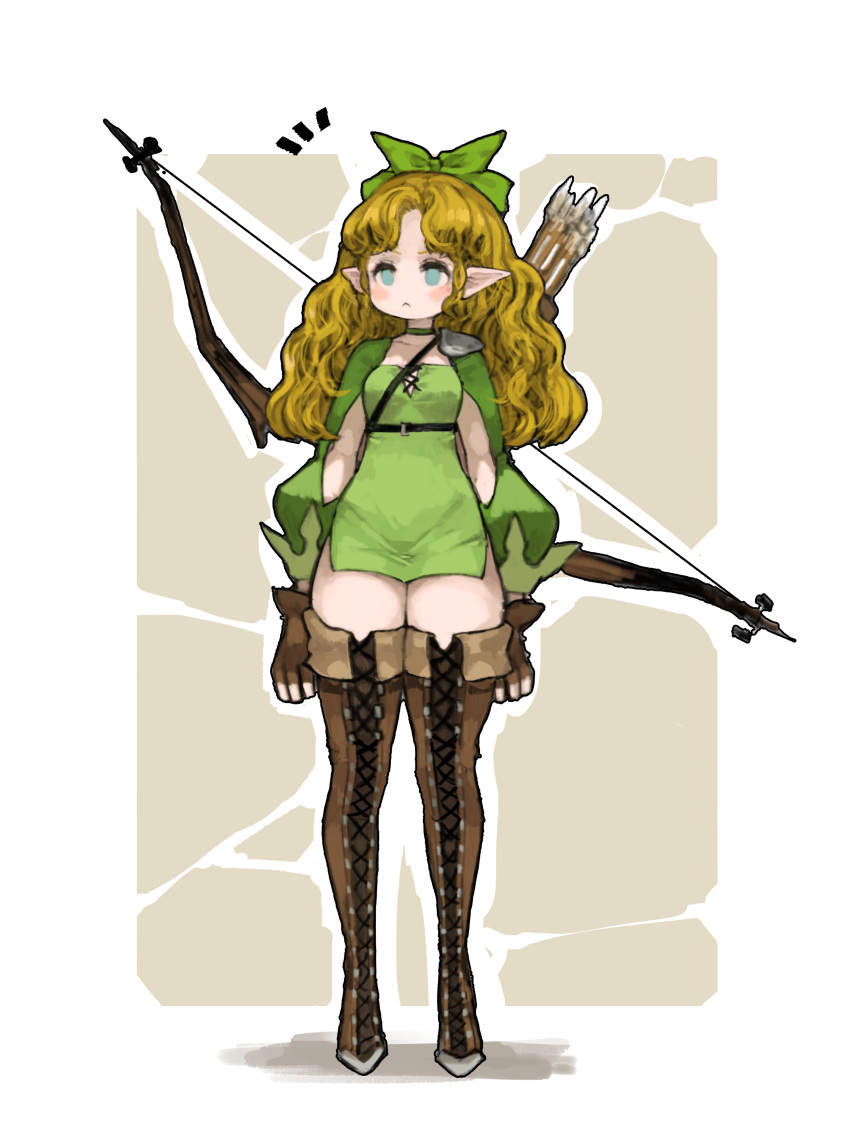 1girl :< absurdres arrow_(projectile) blonde_hair blue_eyes boots bow_(weapon) breasts brown_footwear brown_gloves choker closed_mouth cross-laced_footwear dress elf fingerless_gloves full_body gloves green_choker green_dress green_ribbon hair_ribbon highres kkaebing lace-up_boots light_blue_eyes long_hair long_sleeves microdress no_nose original pointy_ears puffy_long_sleeves puffy_sleeves quiver ribbon shoulder_armor single_spaulder small_breasts solo spaulders standing thigh-highs thigh_boots weapon zettai_ryouiki