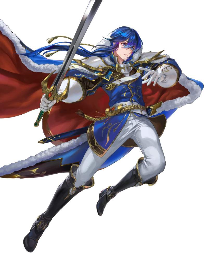 1boy belt blue_eyes blue_hair boots cape egawa_akira fire_emblem fire_emblem:_genealogy_of_the_holy_war fire_emblem_heroes full_body fur_trim gloves headband highres long_hair low_ponytail official_art seliph_(fire_emblem) solo sword transparent_background tyrfing_(fire_emblem) weapon