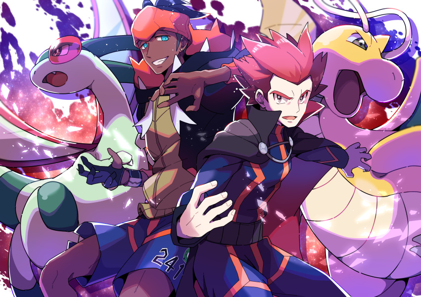 2boys absurdres black_hair blue_eyes cape commentary_request dark_skin dark_skinned_male dragon dragonite earrings fingernails flygon gen_1_pokemon gen_3_pokemon gloves gym_leader highres jacket jewelry kibana_(pokemon) looking_at_viewer making-of_available multiple_boys open_mouth orange_headwear pokemon pokemon_(creature) pokemon_(game) pokemon_hgss pokemon_swsh pon_yui print_shorts redhead shorts smile spiky_hair teeth tongue wataru_(pokemon)